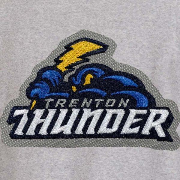 trenton thunder fleece snap jacket embroidery example