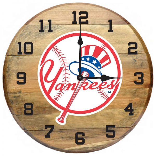 New York Yankees Imperial Oak Barrel Clock
