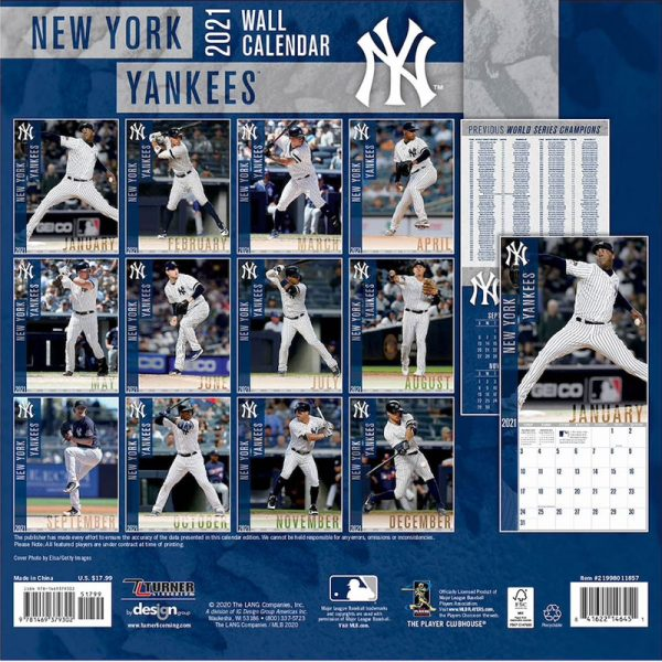 new york yankees 2021 calendar back cover