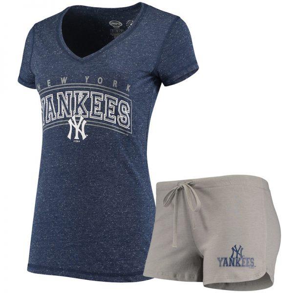 womens new york yankees t-shirt pants sleep set