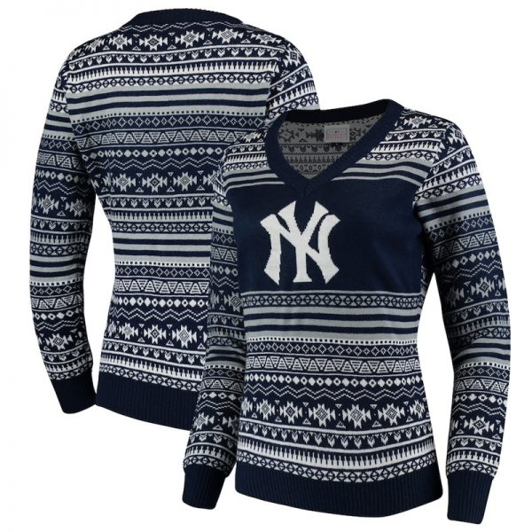 yankees holiday v-neck sweater for women