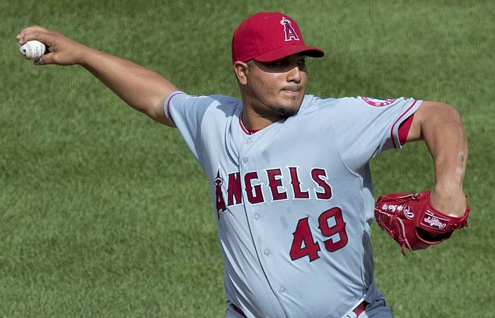 Jhoulys Chacin pitching for the Los Angeles Angels on July 10, 2016