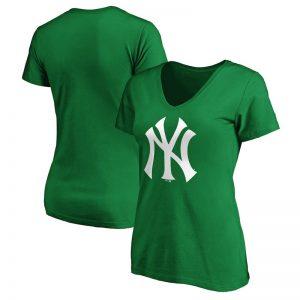 yankees logo st. patricks day v-neck t-shirt for women